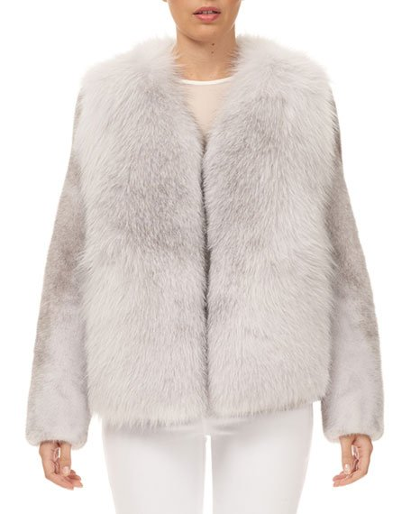 Fox Fur Jacket with Mink Fur Sleeves