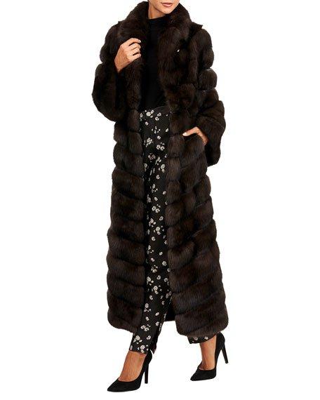 Sable Fur Chevron Coat with Horizontal Sleeves