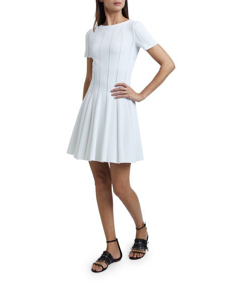 Mini Pleated Crepe Dress