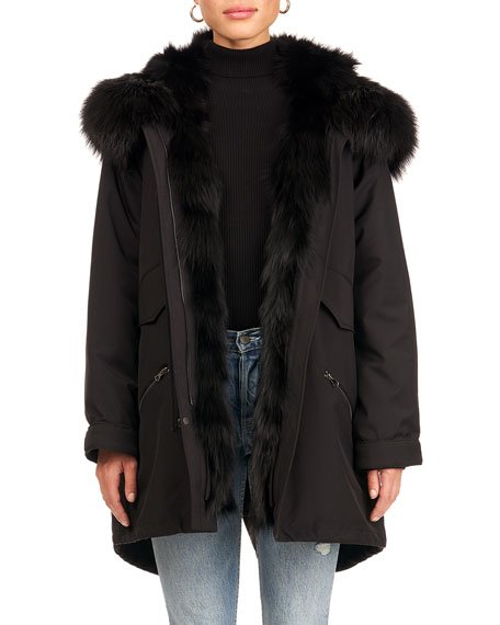 Parka Coat W/ Silver Fox Fur Tuxedo And Trim