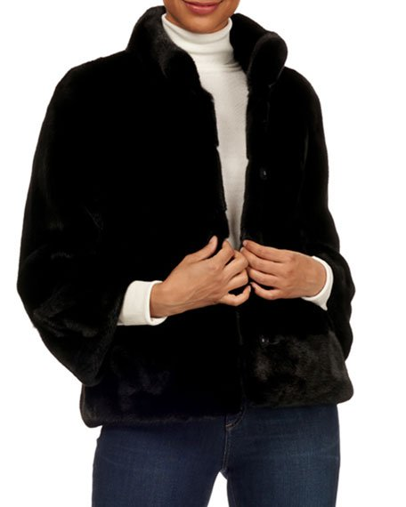 Chevron Mink Fur 3/4-Sleeve Jacket