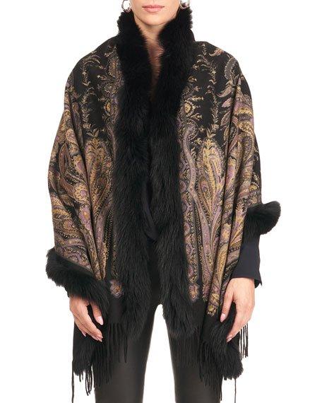 Paisley Print Cashmere Stole w/ Fox Fur Trim