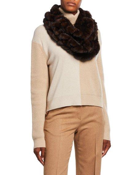Mink Fur Knit Infinity Scarf