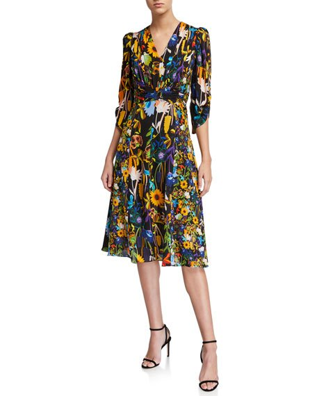 Kailyn Floral V-Neck 3/4-Sleeve Dress