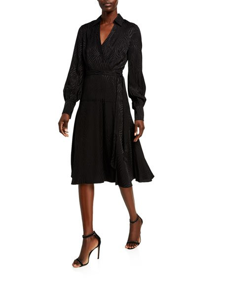 Manning Long-Sleeve Collared Wrap Dress
