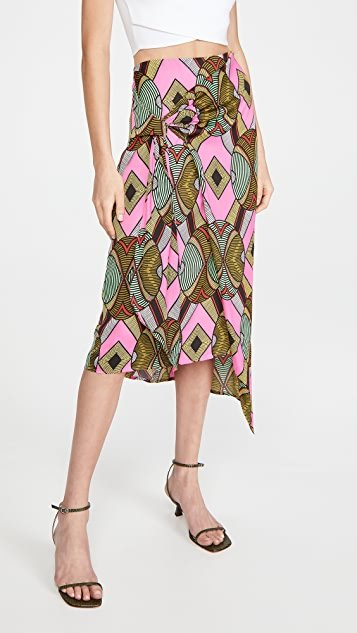 Whack Knotted Midi Skirt