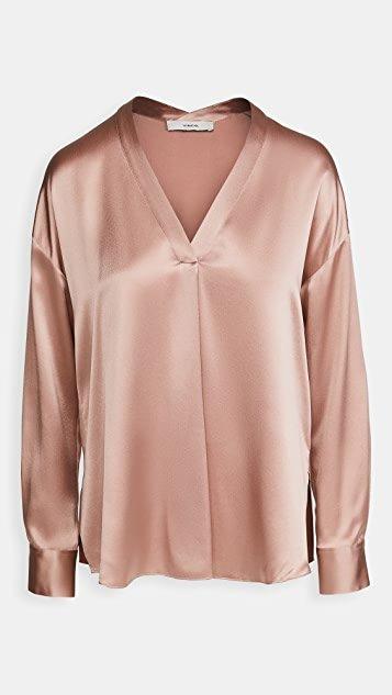 V Neck Popover Silk Shirt