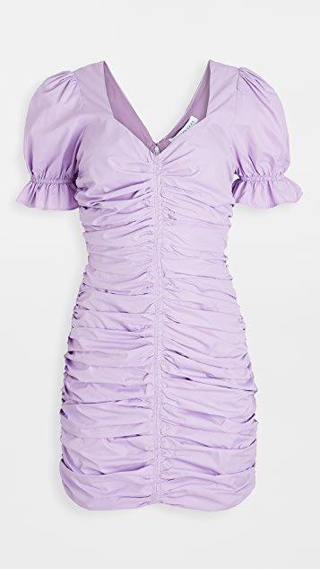 Puff Sleeve Shirred Mini Dress