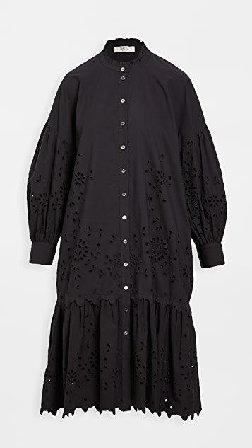 Fern Eyelet Puff Sleeve Shirt Dress
