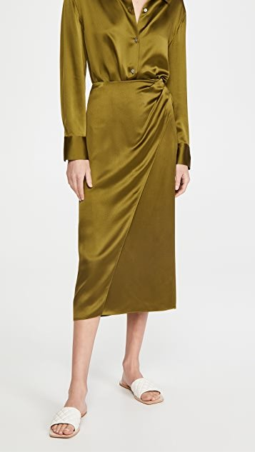 Side Pleat Wrap Silk Skirt