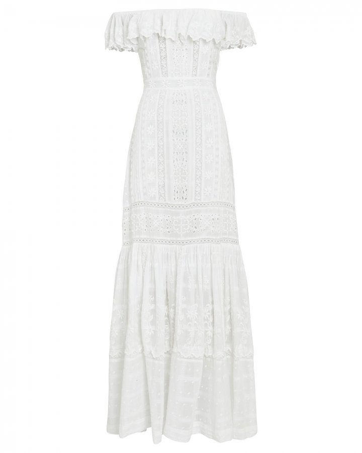 Niko Ruffled Eyelet Maxi Dress