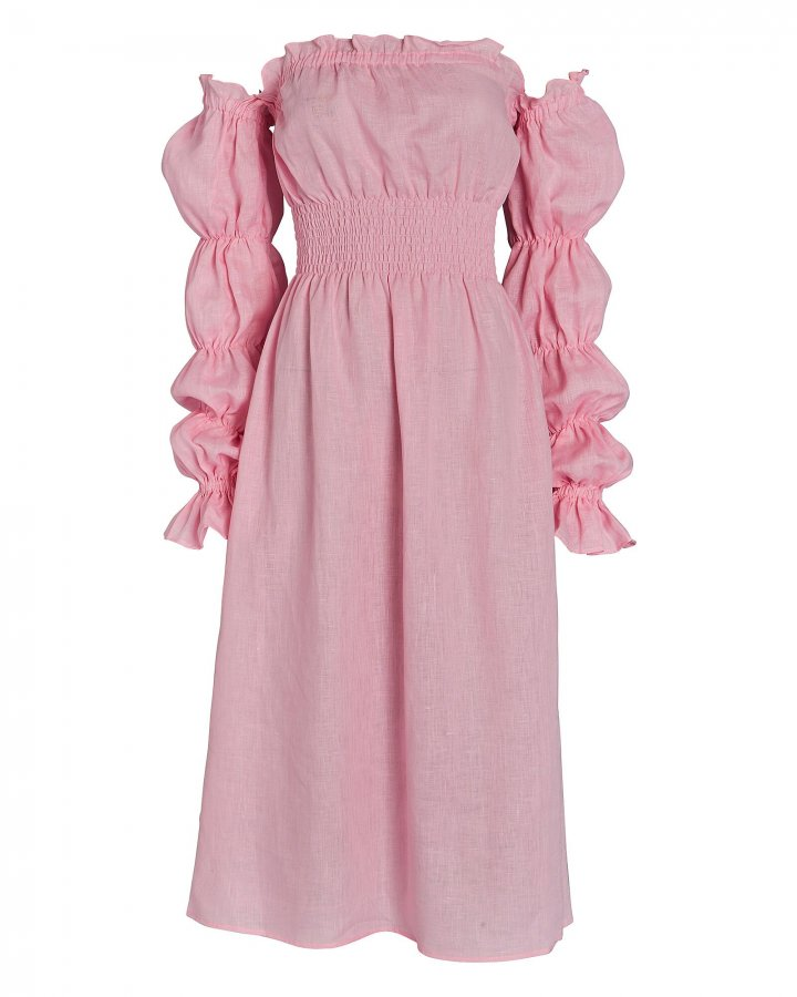 Michelin Smocked Linen Midi Dress