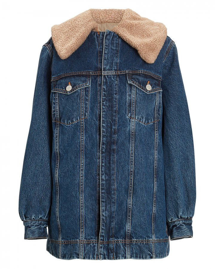 Teddy Oversized Denim Trucker Jacket