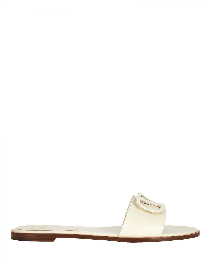 V Logo Leather Slide Sandals