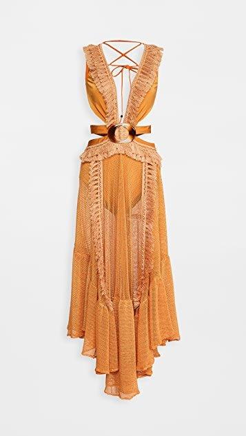 Netted Fringe Beach Dress