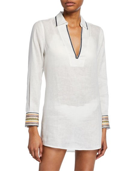 Embroidered Linen Beach Coverup Shirt