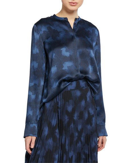 Winter Tie Dye Long-Sleeve Button-Down Silk Blouse
