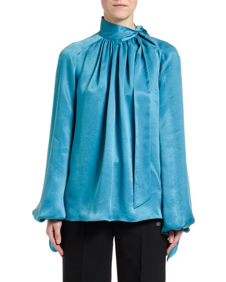 Flowing Satin Full-Sleeve Tie-Neck Blouse, Blue