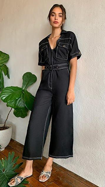 Naomi  Black Linen Jumpsuit