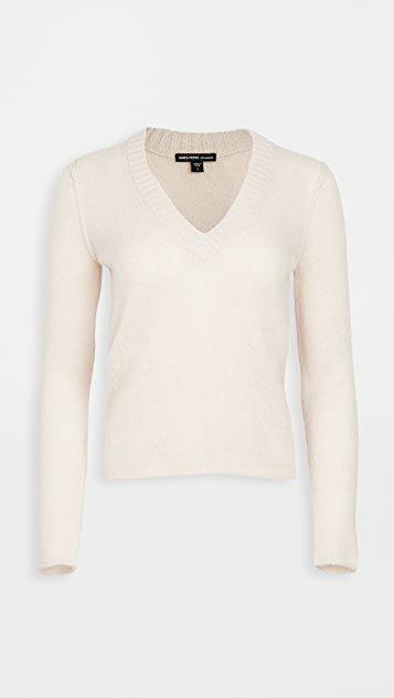 Cashmere Shrunken Deep V Sweater