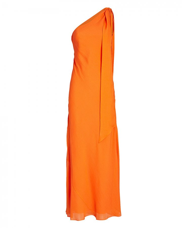 Draped One-Shoulder Chiffon Dress