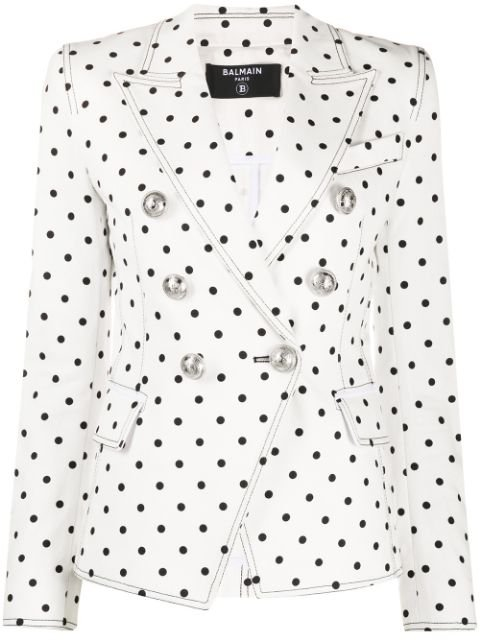 Balmain Polka-Dot Double-Breasted Blazer Ss20 | Farfetch.Com