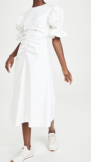 Flare Sleeve Ruched A Line Dress