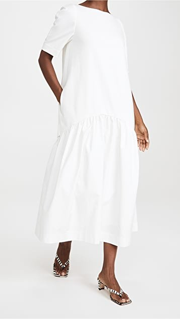 Volume Contrast Maxi Dress
