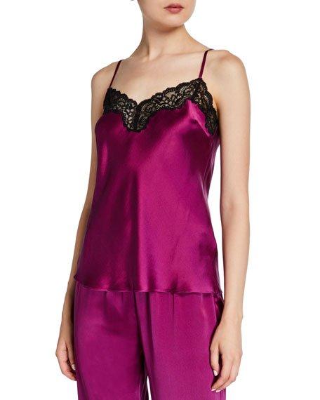 Lace-Trim Silk Lounge Camisole