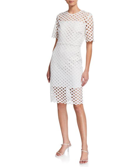 Angela Lattice Embroidered Dress