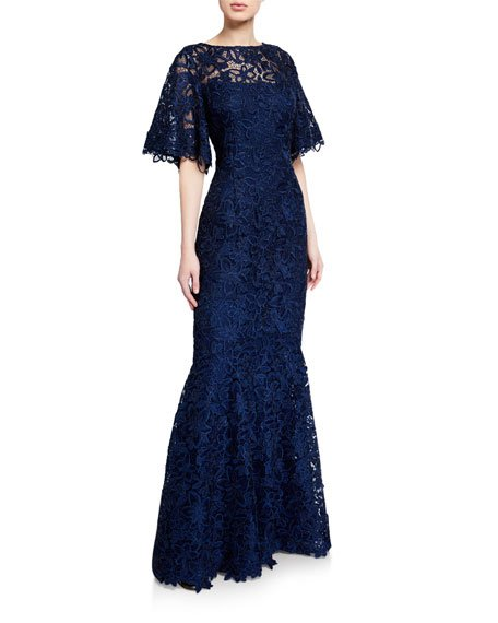 Flutter-Sleeve Metallic Lace Gown