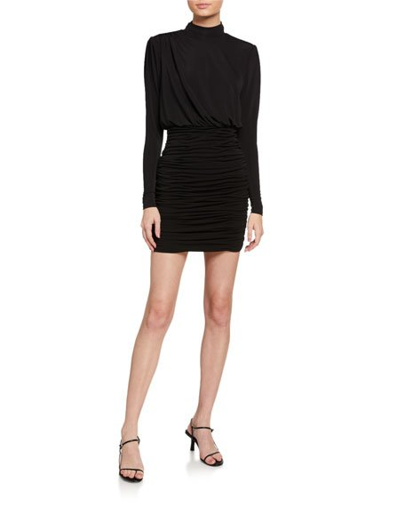 Isla Ruched Mock-Neck Mini Dress