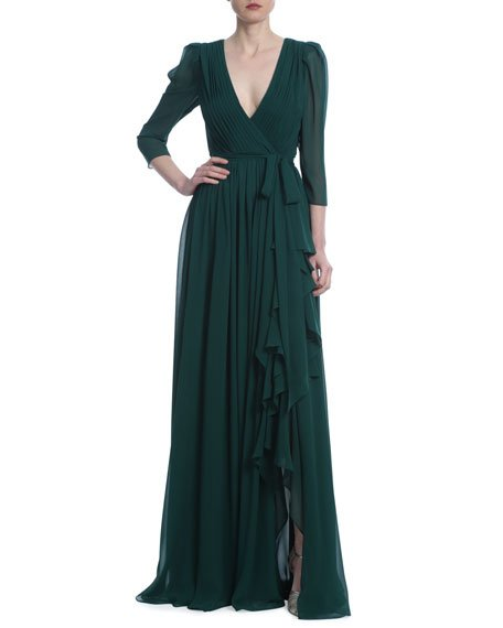 3/4-Sleeve Georgette Ruffle Gown