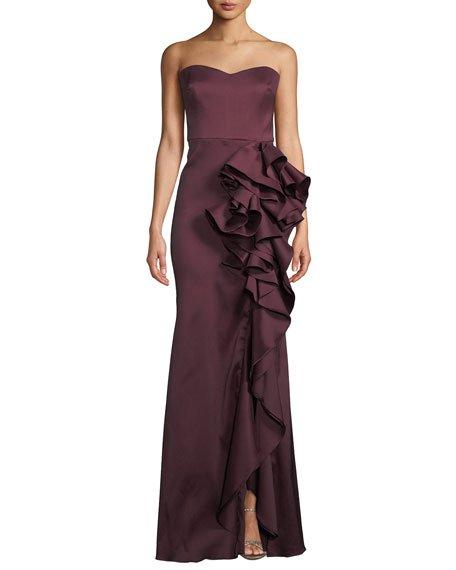 Strapless Mikado Cascading Ruffle Gown
