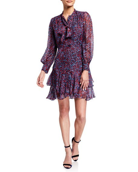 Cynthia Sofia Heart Print Tie-Neck Long-Sleeve Ruffle Dress