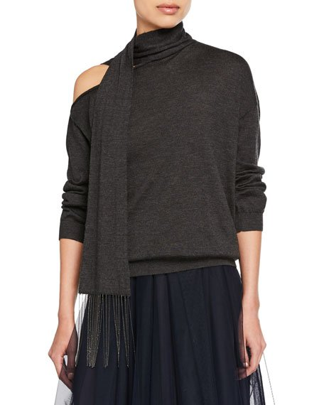 Cashmere One-Shoulder Scarf-Neck Sweater