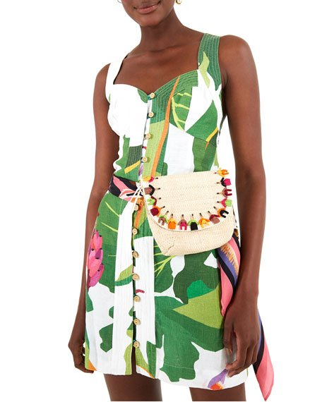Tropicalistic Linen Mini Dress