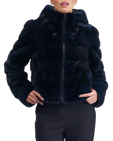 Horizontal Mink Zip Jacket with Double Hood