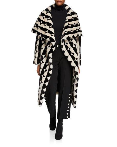 Short Mink Fur Intarsia Coat