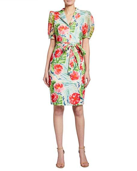 Palm Flower Printed Sheath Dress