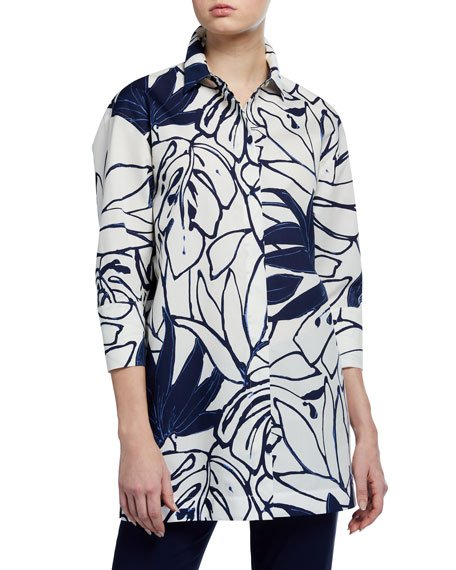 Wade Porcelain Print Button-Down Poplin Blouse