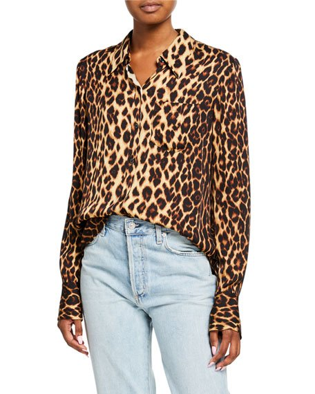 Emerson Leopard Button-Down Silk Top