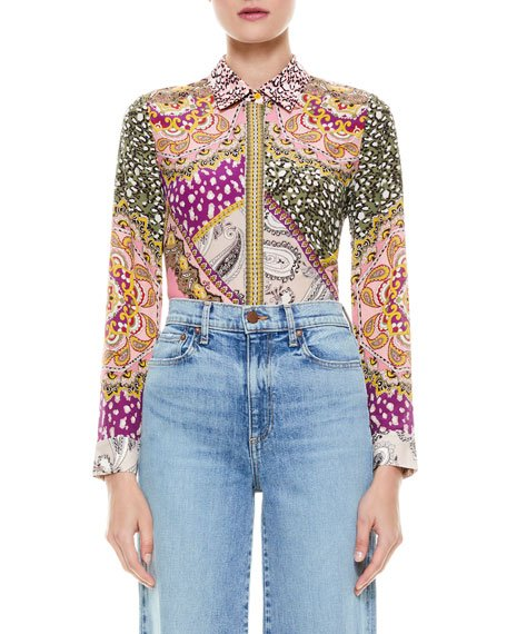 Willa Placket Mixed-Print Top