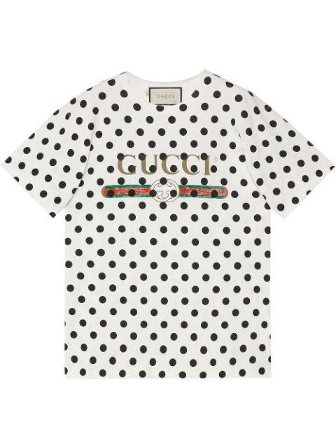Gucci Vintage Logo Polka Dot Print T-Shirt Ss20   Farfetch.Com