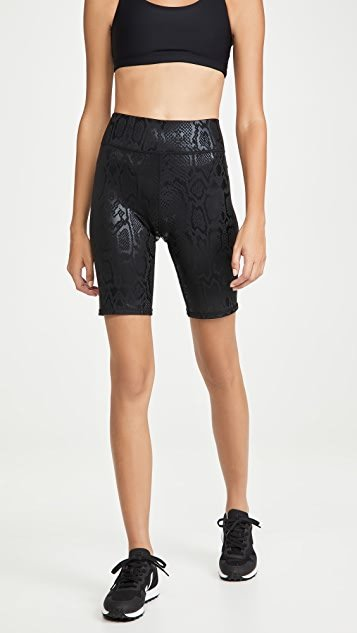 Black Snakeskin Foil Bike Shorts