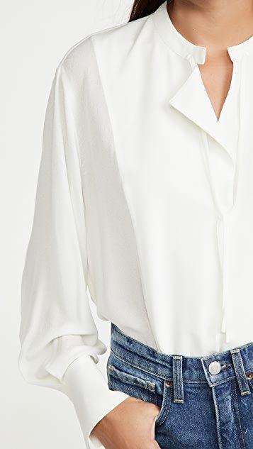 Long Sleeve Tie Neck Blouse