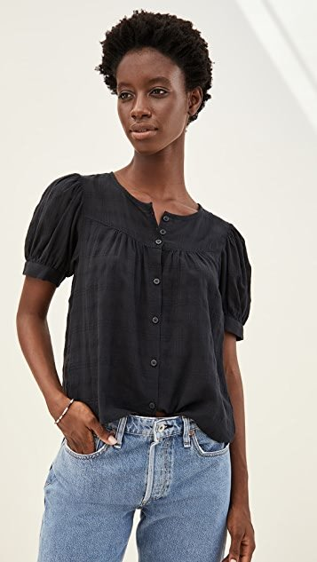 Puff Sleeve Yoke Button Front Top