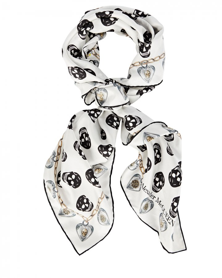 Love Locket Skull Silk Twill Scarf