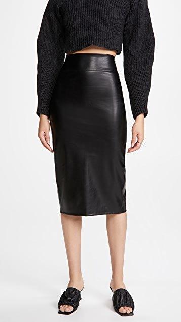 Vegan Leather Pencil Midi Skirt