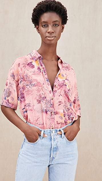 Share Good Vibes Button Down